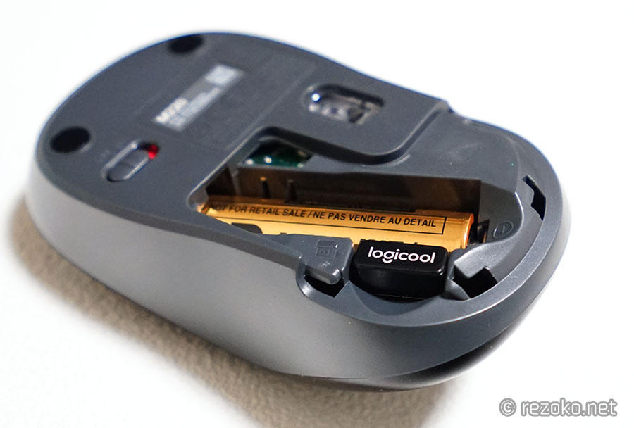 ロジクール静音マウスM220の裏側