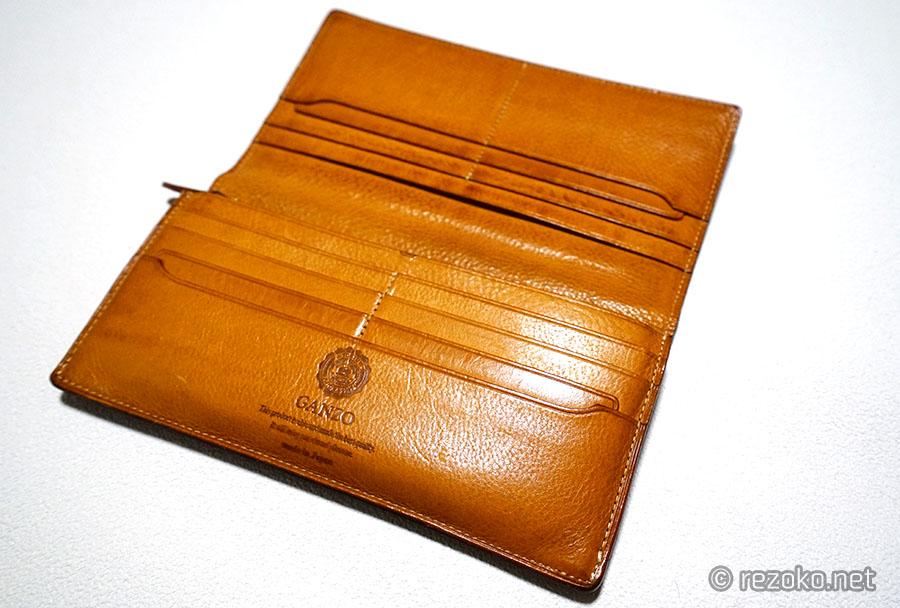 1年経過したGANZOの長財布の内側